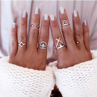 Bohemian 6pcs/Pck Vintage Anti Silver Blue Turquoise Rings Lucky Stackable Midi Rings Set of Rings for Women Party