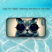 Cat with glass for iphone 5 case, iphone 4 case, ipod 4 case, ipod 5 case, Samsung galaxy S3, Samsung galaxy S4, note 2, blackberry q10, z10