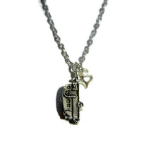 Camping Camper and Heart Charm Necklace