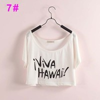Viva Hawaii Vacation Crop Top Summer Girl Tee Fashion Beach Party T-shirt