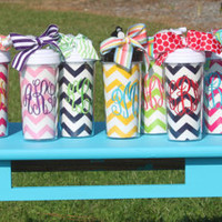 20 oz Plastic Tumbler Cup with Straw Chevron Personalized Monogrammed Teacher Bridesmaid Graduation Gift