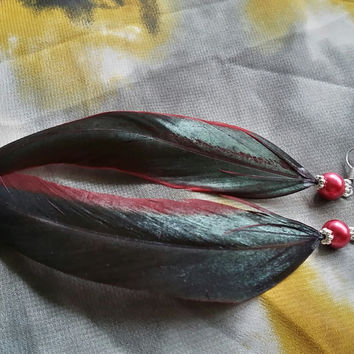 Red & Green Iridescent Feather Earrings