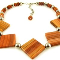 """Rust Terracotta Red Banded Jasper Gemstone Necklace with Matte Square Slab Chunky Stones 21.5"""" Long"""