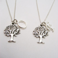 Tree Necklace Set Plant Necklace Best Friends Mother Daughter Jewelry Sibling Jewelry Letter Necklace Customized  Bffs Tree Jewelry