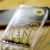 real Press Flowers Unique Dried pressed Butterfly Daisy Daisies cover iphone case 4 iphone 4s case iphone 5 case iphone 5s case iphone 5c