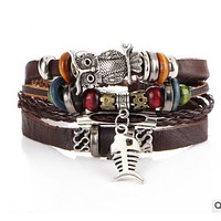 The new beaded genuine leather multi-layer bracelet with a vintage bracelet with a vintage bracelet
