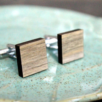 Gray Wood Cufflinks, Reclaimed Wood Look, Unique Groomsmen Gift, Rustic Wedding Accessory, Gift for Him Under 30, Grey, Minimalist Natural