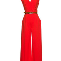 Belted Jumpsuit Red