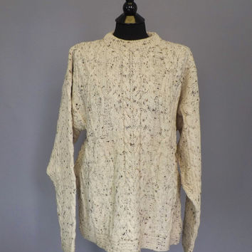 Vintage Unisex 90s Totem Creamy White Cable Knit Cotton Sweater Fall Nautical Fisherman Sweater Size Large SoCal Boat Men's Women's Sweater