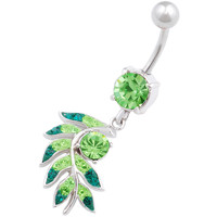 Glittery Leaf Dangle Peridot Crystal Belly Button Ring For Girls [Gauge: 14G - 1.6mm / Length: 10mm] 316L Surgical Steel & Crystal