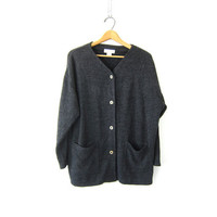 Charcoal Gray sweater cardigan. button up cardigan sweater. simple basic dark gray Oversized Baggy women's sweater with pockets. size M