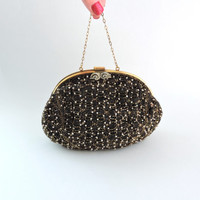 Vintage Black Beaded Purse, Rhinestone Clasp, Mid Century Handbag, 50s Clutch, Gold Embroidered Evening Bag, Chain Pearls, Mirror Coin Purse