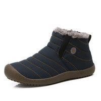 Hot 2016  Men Winter Shoes Solid Color Snow Boots Cotton Inside Antiskid Bottom Keep Warm Waterproof Ski Boots,size36- 46