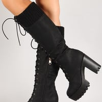Knit Cuff Lug Sole Knee High Platform Boot