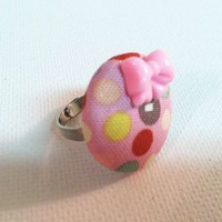 Pastel Polka Dot Fabric Button Ring from Kute As a Button Shop