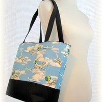 Travel tote bag retro airplanes