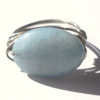 Aquamarine Wrapped Silver Wire Ring Size 6