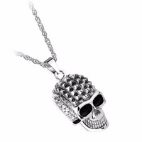 The Studded Skull Necklace in Silver