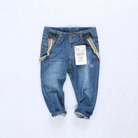 High quality fashion baby boys girls children jeans cowboy pants boy's suspender trousers kids overalls girls tirantes