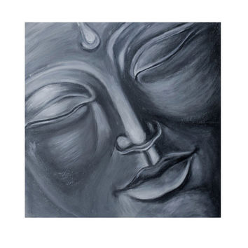 Silver Buddha painting, modern silver painting wall decor, Buddha home decor, silver wall decor, budhist