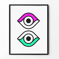 Eye Wall Art, Geometric Print, Black and White, wall decor, graphic art, inspirational art, abstract art, surreal