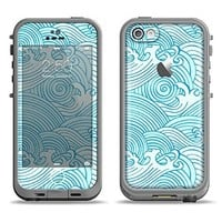 The Abstract Blue & White Waves Apple iPhone 5c LifeProof Fre White Case and Skin Set (White LifeProof Case Included)