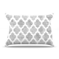 "Amanda Lane ""Gray Moroccan"" Grey White Pillow Case"