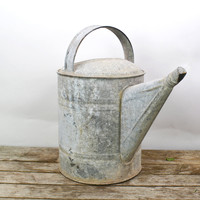 Galvanized Can, Watering Can, Vintage Metal Watering Can, Sprinkler Can, Rustic Flower Vase, Gardening Tool, Farmhouse Decor, Automobile Can