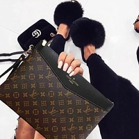 LV Louis Vuitton Fashion New Popular Monogram Leather Office Bag Zipper Women Men Wallet Purse Handbag Black