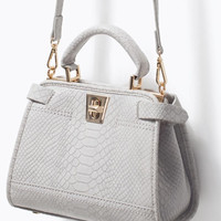Gray Faux Leather Mini City Bag with Lock & Handle