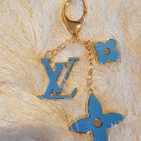 Beady LogoZ Design Bag Tag Keychain Gold & Neon Blue