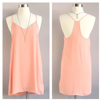 A Little Peach Tank Dress