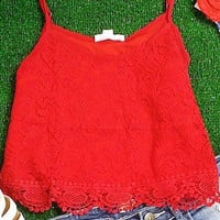 SECRETS TO TELL CROP TOP IN RED