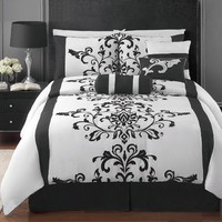 7 Piece Black and White Flocking / Comforter Set / Bed in a Bag / Queen Size Bedding / By Plush C Collection
