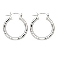 Sterling Silver Click-Down Clasp Hoop Earrings (4mm), All Sizes