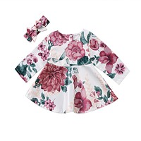 Baby Girls Long Sleeve Floral Dresses 2PCS Outfits 2017 New Bebes Kids Casual Dress For Girls Cute Fall Vestidos+Headband 0-24M