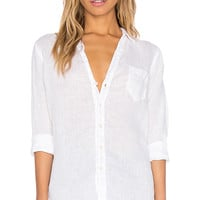 CP SHADES Sloane Solid Linen Shirt in White