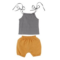 Summer Toddler Kid Baby Girls Sleeveless Belt Tank Top + Short Pants Outfits Cotton Sunsuit Clothes