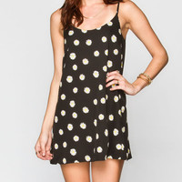Full Tilt Daisy Print Slip Dress Black Combo  In Sizes