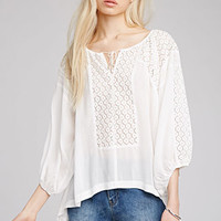 Floral Lace-Paneled Peasant Blouse