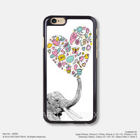 Elephant and heart pattern iPhone Case Black Hard case 098