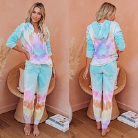 New ladies' home service two-piece autumn and winter tie-dye hooded pajamas set colorful