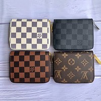 LV Louis Vuitton classic printed letters men and women zipper small wallet key case