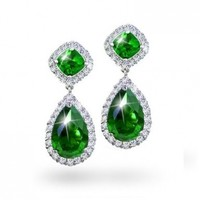 Bling Jewelry Green CZ Teardrop Dangle Earrings Silver Plated