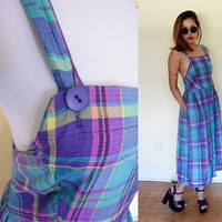 Vintage low back plaid day dress maxi skirt blue purple violet housewife