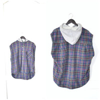 HOODED plaid flannel vest / early 90s GRUNGE flannel hoodie os