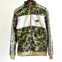 Adidas Originals Camouflage Zipper Cardigan Sweatshirt Jacket Coat Windbreaker Sportswear