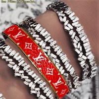 LV Louis Vuitton Popular Women Men Personality High End Lovers Stainless Steel Bracelet