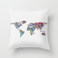 World of Leaves Throw Pillow by Mareike Böhmer Graphics