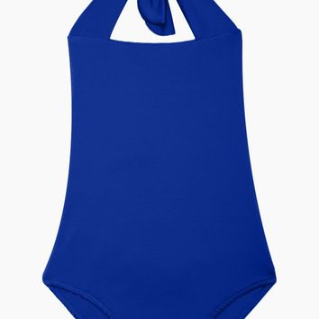 Layla Open Back One Piece Swimsuit (Kids) - Electric Blue
